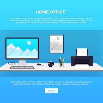 Ilustración de oficina en casa creativa