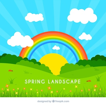 Ilustración de paisaje primaveral