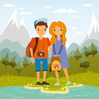 Ilustración de pareja en el campo