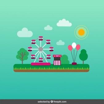 Ilustración de parque de atracciones colorido