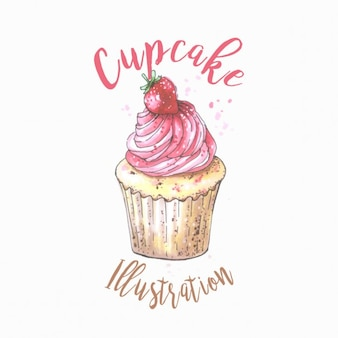 Ilustración de pastelito en acuarela con fresa