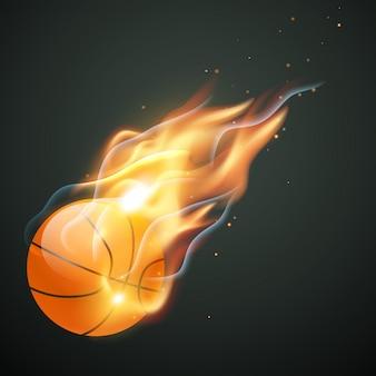 Ilustración de pelota de baloncesto quemando
