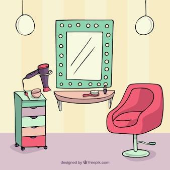 Ilustración de peluquería dibujada a mano
