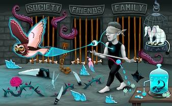 Ilustración de personaje con una venda y elementos fantásticos