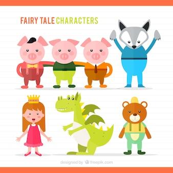 Ilustración de personajes de cuentos infantiles