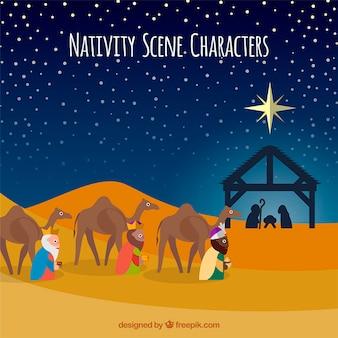 Ilustración de personajes de escena navideña