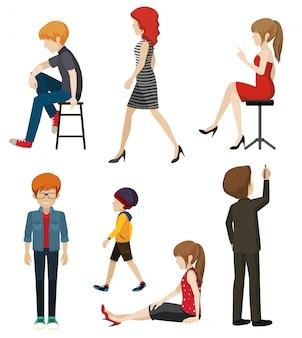 Ilustración de personas sin rostro en diferentes poses