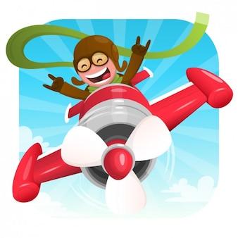 Ilustración de piloto feliz