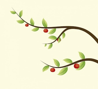 Ilustración de ramas con manzanas