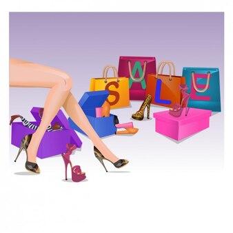 Ilustración de rebajas de zapatos