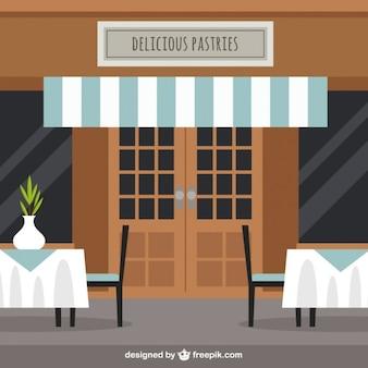 Ilustración de restaurante en estilo plano