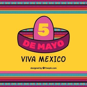 Ilustración de sombrero mexicano para el cinco de mayo