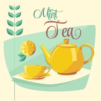 Ilustración de té de menta