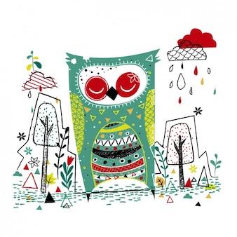 Ilustración de un buho