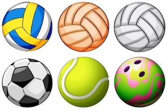 Ilustración de un conjunto de bolas de deporte sobre un fondo blanco