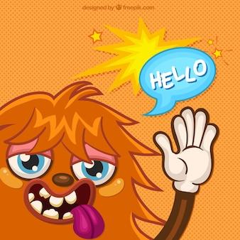 Ilustración de un monstruo diciendo hola