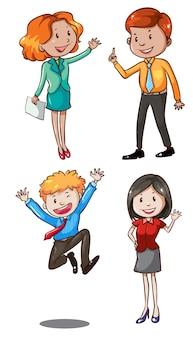 Ilustración de un simple boceto de los trabajadores de oficina sobre un fondo blanco