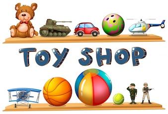 Ilustración de una tienda de juguetes sobre un fondo blanco