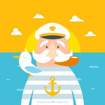 Ilustración de viejo capitán con elementos marineros