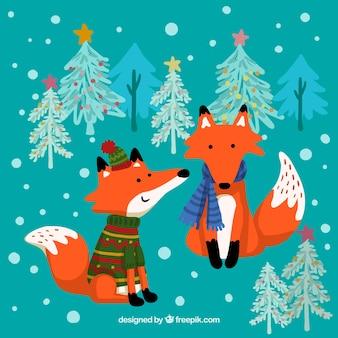 Ilustración de zorros de invierno