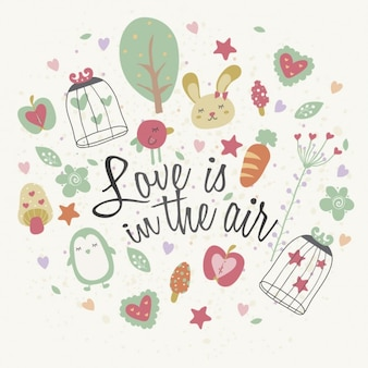 Ilustración del amor esta en el aire