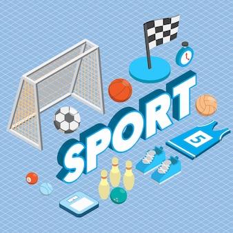 Ilustración del concepto de deporte en gráfico isométrico