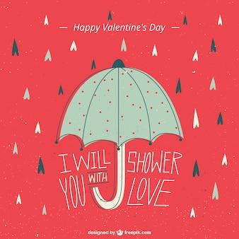 Ilustración del día de San Valentín con un paragüas