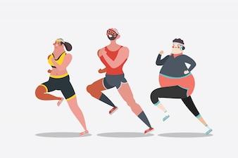 Ilustración del diseño del personaje de dibujos animados. adultos jóvenes corriendo maratón