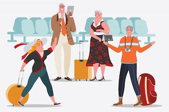 Ilustración del diseño del personaje de dibujos animados. Gente en el aeropuerto Hombres y mujeres están felices de conocer. Los adultos usan la tableta
