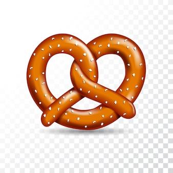 Ilustración del pretzel sabroso del vector realista en el fondo transparente blanco.