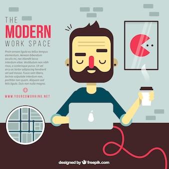 Ilustración dell moderno espacio de trabajo