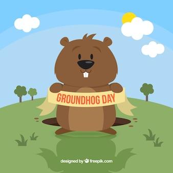 Ilustración divertida del día de la marmota