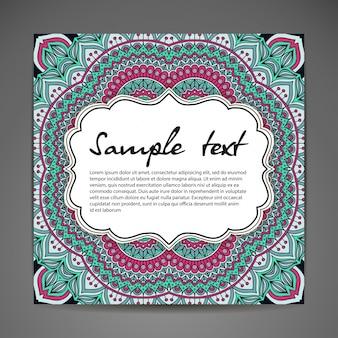 Ilustración floral de mandala con espacio para texto