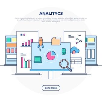 Ilustración infográfica de analítica
