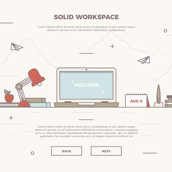 Ilustración infográfica de espacio de trabajo sólido