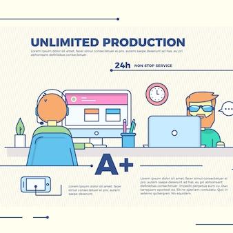 Ilustración infográfica de producción ilimitada