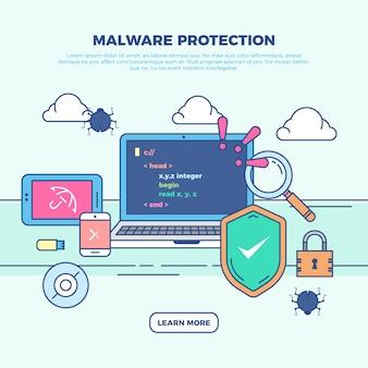 Ilustración infográfica de protección de malware