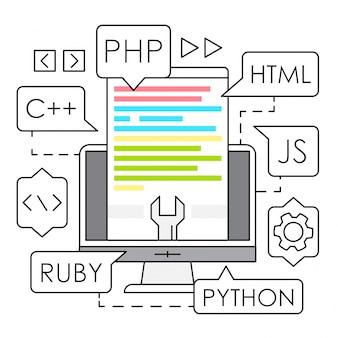 Ilustración lineal de desarrollo web