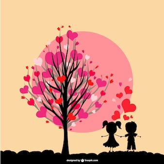 Ilustración niños enamorados