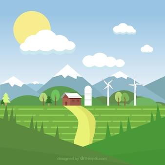 Ilustración paisaje de granja
