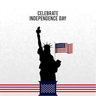 Ilustración para el día de la independencia con estatua de la libertad