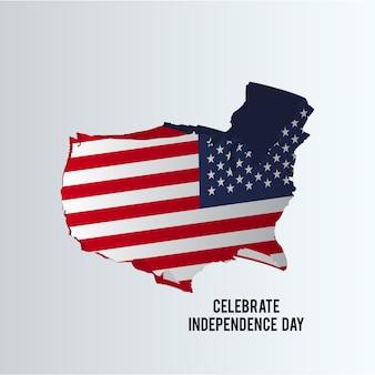 Ilustración para el día de la independencia con mapa de los eeuu
