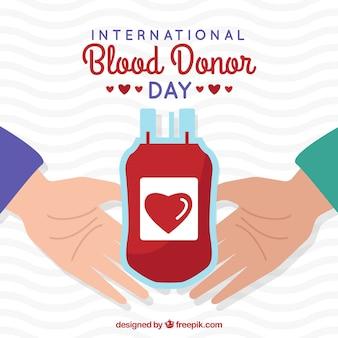 Ilustración para el día mundial del donante de sangre con manos