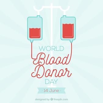 Ilustración para el día mundial del donante de sangre sobre fondo de rayos solares