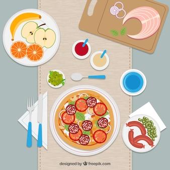 Ilustración plana de almuerzo