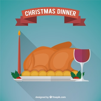 Ilustración plana de cena de navidad