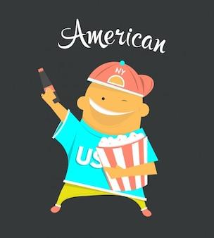 Ilustración plana de chico americano