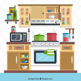 Ilustración plana de cocina
