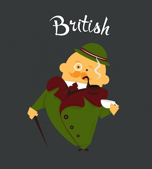 Ilustración plana de hombre británico