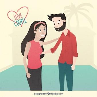Ilustración plana de pareja